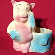 REDUCED Vintage Porky Pig Figural Pottery Planter
