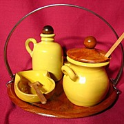 SALE PENDING Jie Gantofta Swedish Pottery Cruet Set