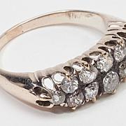 Art Deco 10 Karat Yellow Gold Mine Diamond Anniversary Ring Old