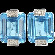 Estate 14 Karat White Gold Blue Topaz Diamond Cocktail Earrings Fine Jewelry