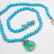 Estate 14 Karat Yellow Gold Turquoise Green Chalcedony Drop Necklace Fine Jewelry