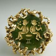 Vintage 14 Karat Yellow Gold Nugget Figural Gemini Cocktail Ring Estate Fine Jewelry Heirloom