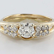 Vintage 14 Karat Yellow Gold Diamond Engagement Ring Estate Fine Jewelry Bridal Heirloom