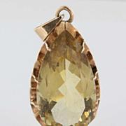 Vintage 14 Karat Yellow Gold Big Citrine Pendant Estate Fine Jewelry Heirloom Large