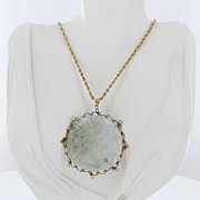 Vintage 14 Karat Yellow Gold Big Carved Jade Pendant Estate Fine Jewelry Heirloom