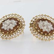 Vintage 14 Karat Yellow Gold Cameo Flower Clip Earrings Estate Fine Jewelry Heirloom
