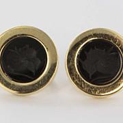 Vintage 14 Karat Yellow Gold Onyx Intaglio Earrings Estate Fine Jewelry Heirloom