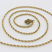 Vintage 14 Karat Yellow Gold Turquoise Rope Chain Necklace Fine Jewelry Pre-Owned
