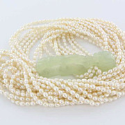 Vintage 12 Strand Freshwater Pearl Carved Jade Chinese Dragon Necklace Pre-Owned