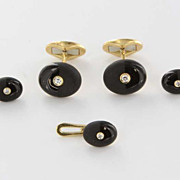 Vintage 18 Karat Yellow Gold Diamond Onyx Cufflinks Shirt Pin Set Fine Mens Jewelry