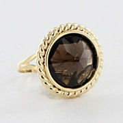 Estate 14 Karat Yellow Gold Smokey Quartz Cocktail Ring Fine Jewelry Pre-Owned Used