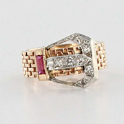 Deco 14 Karat Rose White Gold Diamond Buckle Ruby Ring Fine Jewelry Used