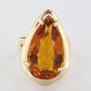 Vintage 14 Karat Yellow Gold Citrine Cocktail Ring Fine Estate Jewelry Pre-Owned Used