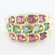 Vintage 14 Karat Gold Emerald Ruby Cigar Band Ring Estate Fine Jewelry Heirloom Sz 7