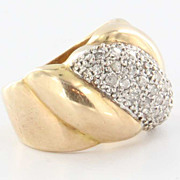 Vintage 14k Yellow Gold Diamond Cigar Band Ring Fine Estate Jewelry Pre-Owned 4