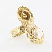 Vintage 14 Karat Yellow Gold Mabe Pearl Cocktail Ring Fine Estate Jewelry Pre-Owned