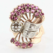 Vintage Deco Retro 14 Karat Rose Gold Diamond Ruby Ring Fine Estate Jewelry