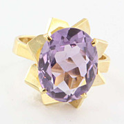 Estate 18 Karat Yellow Gold Amethyst French Cocktail Ring Fine Jewelry Pre-Owned