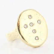 Estate 14 Karat Yellow Gold Diamond Religious Cross Ring Fine Jewelry Hammered 6.5