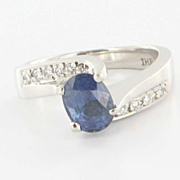 Estate 950 Platinum Diamond Natural Sapphire Engagement Ring Fine Jewelry Pre-Owned