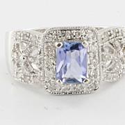 Estate 14 Karat White Gold Tanzanite Diamond Cocktail Ring Fine Jewelry Sz 7