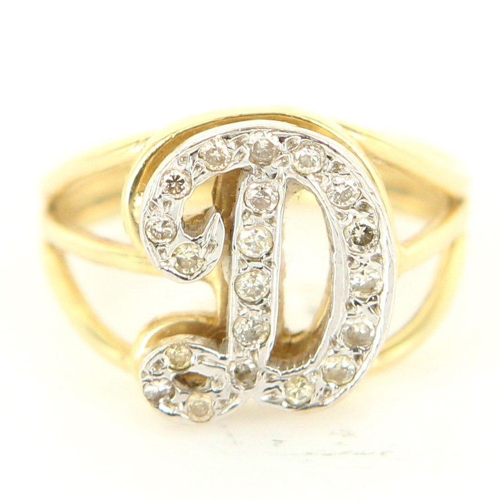 Vintage 14 Karat Yellow Gold Diamond Letter D Initial ...