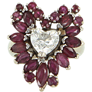 REDUCED Vintage 14 Karat White Gold Diamond Ruby Heart Cocktail Ring Fine Jewelry Used