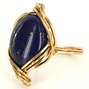 Vintage 14 Karat Yellow Gold Lapis Lazuli Cocktail Ring Fine Estate Jewelry Used
