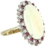 Vintage Opal Ruby Diamond 14 Karat Gold Oval Cocktail Ring Estate Fine Jewelry 7