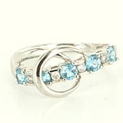 Estate 14 Karat White Gold Diamond Blue Topaz Stack Band Ring Fine Jewelry 6 3/4