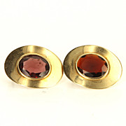 Vintage 14 Karat Yellow Gold Garnet Cocktail Button Earrings Fine Estate Jewelry