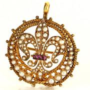 Vintage 14 Karat Yellow Gold Seed Pearl Ruby Fleur De Lis Pendant Brooch Pin