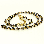 Estate 18 Karat Yellow Gold Black Diamond Long Cocktail Necklace Fine Jewelry
