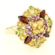 Estate 14 Karat Yellow Gold Peridot Garnet Citrine Pink Tourmaline Cocktail Ring