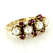 Vintage 14 Karat Yellow Gold Cultured Pearl Ruby Ring Fine Estate Jewelry