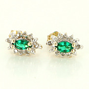 Estate 10 Karat Yellow Gold Diamond Green Tourmaline Small Stud Earrings