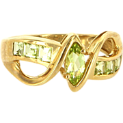 Estate 10 Karat Yellow Gold Peridot Stack Band Ring Fine Jewelry Pre-Owned