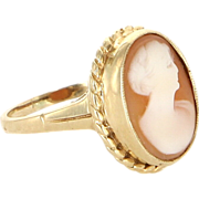 Vintage 14 Karat Yellow Gold Cameo Cocktail Ring Fine Estate Jewelry Pre-Owned