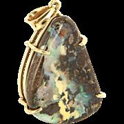 Vintage 14 Karat Yellow Gold Sky Boulder Opal Large Cocktail Pendant Estate