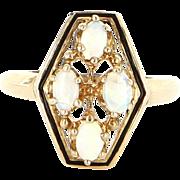 Vintage 14 Karat Yellow Gold Natural Opal Enamel Cocktail Ring Fine Jewelry
