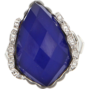 Estate Designer Stephen Webster 18 Karat White Gold Diamond Agate Sapphire Ring