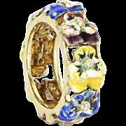 Vintage 14 Karat Yellow Gold Diamond Enamel Pansy Flower Ring Fine Jewelry