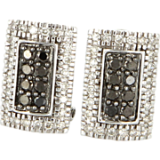 Estate 14 Karat White Gold Black White Diamond Cocktail Earrings Fine Jewelry
