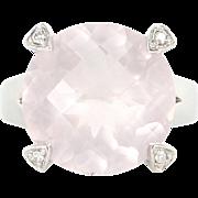 Estate 10 Karat White Gold Diamond Rose Quartz Heart Cocktail Ring Fine Jewelry