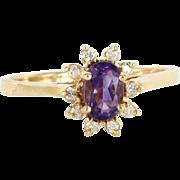 Vintage 14 Karat Yellow Gold Diamond Amethyst Princess Cocktail Ring Estate
