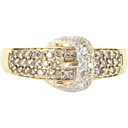 Estate 14 Karat Yellow Gold Diamond Buckle Cocktail Ring Fine Jewelry Pre-Owned