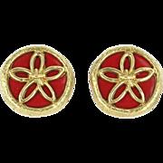 Vintage Tiffany & Co Schlumberger Enamel 18 Karat Yellow Gold Flower Clip Earrings Designe