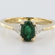 Vintage 14 Karat Yellow Gold Diamond Green Tourmaline Engagement Ring Estate 7