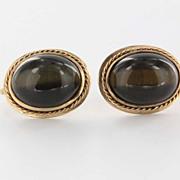 Vintage 14 Karat Yellow Gold Tigers Eye Earrings Fine Estate Jewelry Pre-Owned