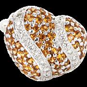 Vintage 18 karat White Gold Spessartite Garnet Diamond Heart Dome Cocktail Ring